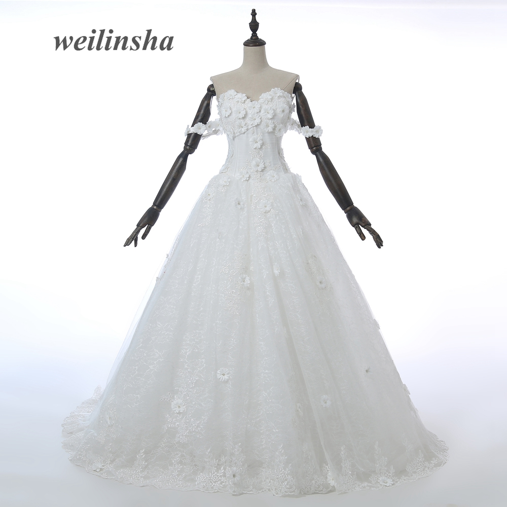 weilinsha Sleeveless Elegant Wedding Dresses 2017 New Hand Made Flowers Bridal Gown Sweetheart Neck Long Wedding Dress