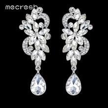 Mecresh роскошные серебряные хрустальные большие длинные висячие серьги для невесты/подружки невесты в форме цветка серьги на свадебную вечеринку MEH1045