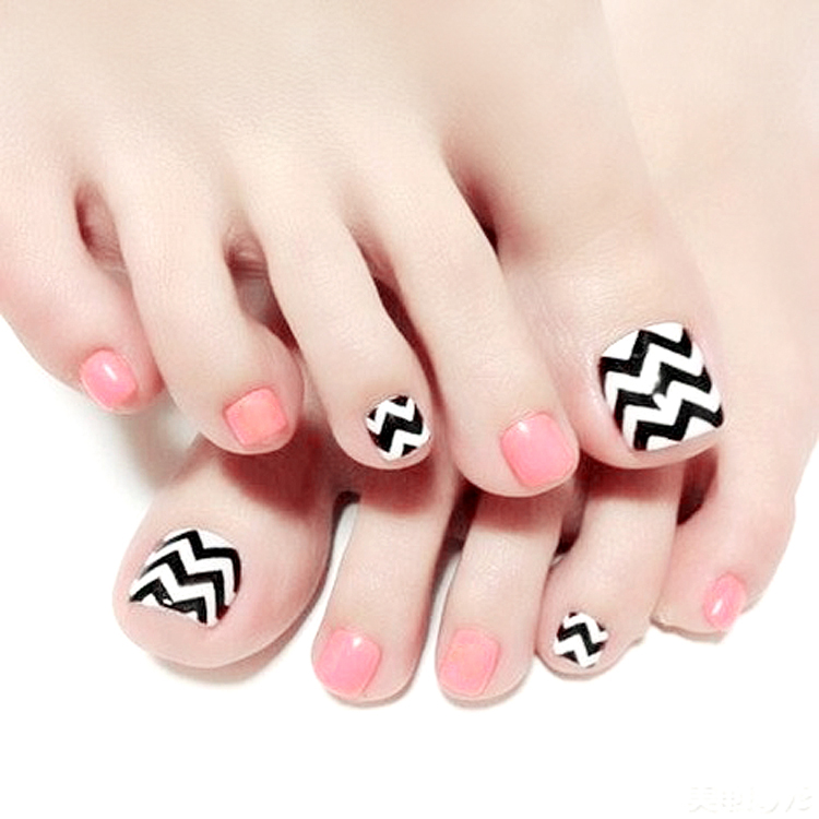 Online Shop Cream pink pure color with wave pattern fake nails ...