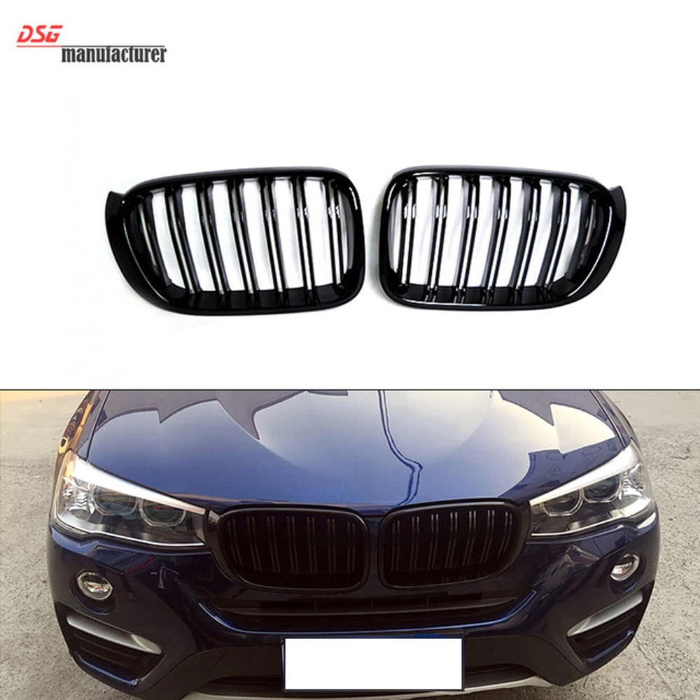 X3 X4 Dual Front Kidney Grill For BMW F25 LCI F26 Bumper Front Grille Great Performance xDrive18d xDrive25i xDrive30i 1 pair gloss black m color front bumper center kidney grilles for bmw x3 f25 2011 2012 2013 2014 racing grills