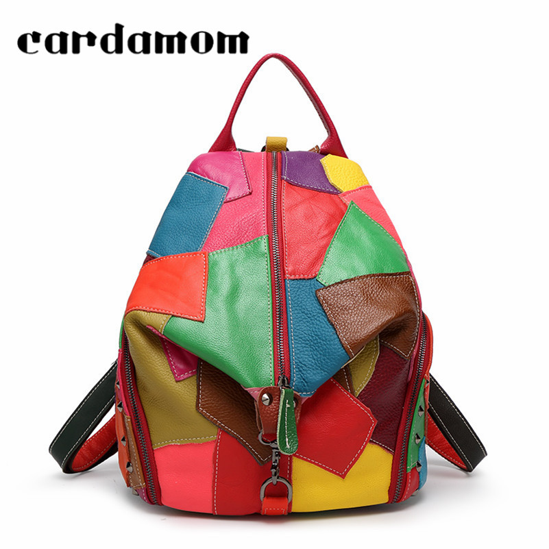 Women Leisure Genuine Leather Backpacks Women Travel Rivets Fashion Cow Leather Female Backpack Candy Color Book Bag Backpack backpack female genuine leather women backpacks school bag plaid strip multifunctional cow leather travel backpacks lf15833
