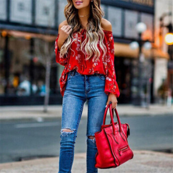 hirigin blouse Women's Off Shoulder flare Long sleeve red gorgeous flower Tops Shirt Casual Blouse Loose Crop female casual off the shoulder print flare sleeve blouse for women