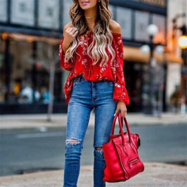 69317308e6c3d2 hirigin blouse Women's Off Shoulder flare Long sleeve red gorgeous flower  Tops Shirt Casual Blouse Loose Crop female