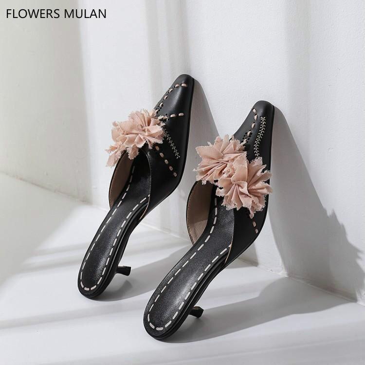 Rosa Spitz Chic Damen Nähen Schwarzes Floral Weichem Sandalen Schuhe Mädchen Schwarz Maultiere Mit Auf Frauen Leder Oberen Slip Pumps qR4wFO