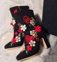 Высокое качество вышитые цветы толстые Обувь на высоком каблуке в стиле ретро женские ботильоны с круглым носком Боковая молния весна осен