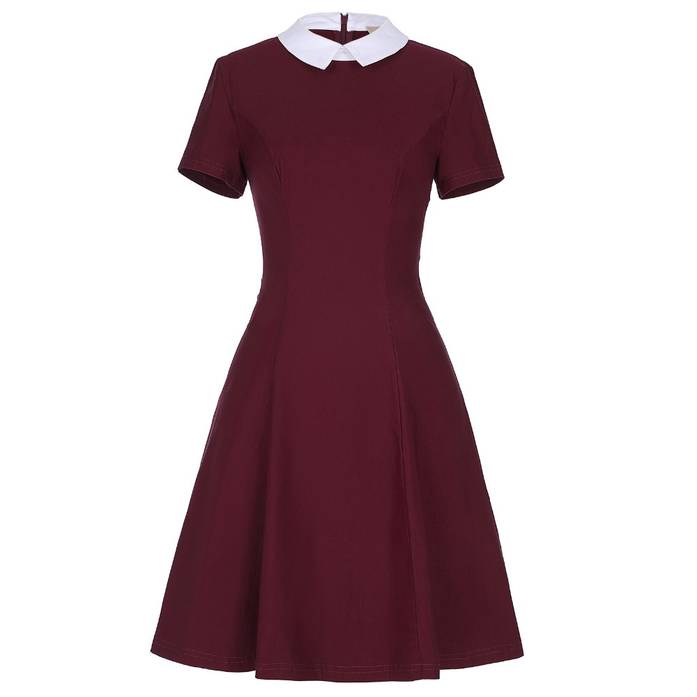 Fashion Summer Casual Women Dress Slim Vintage 50s Dresses Cocktail Party Gowns Vestidos Short Sleeve Wine Red Ladies Clothes