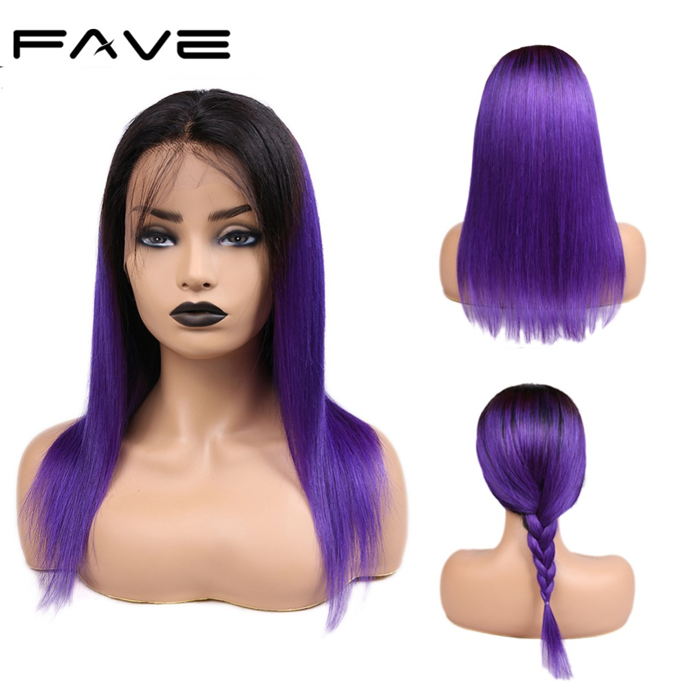 FAVE Hair 13*4 Lace Frontal Straight Ombre Wigs With Baby Hair Pre Plucked Natural Hairline Remy Human Hair Wigs 1B/Purple