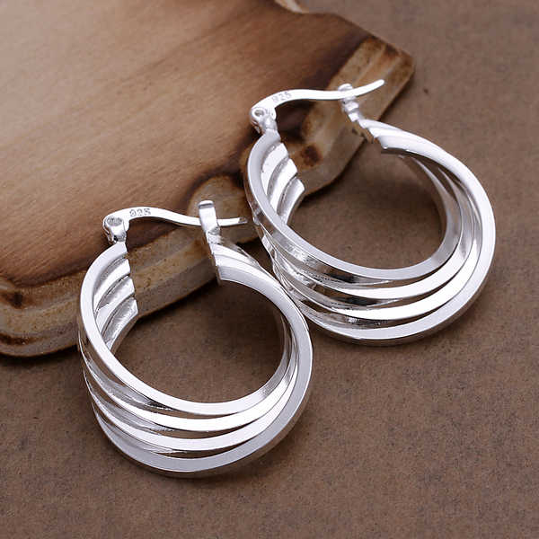 SMTCAT Four layers Creole Hoop Earring for Women Sterling Silver Round Earring European Brand Fashion Accessories Jewelry Gifts