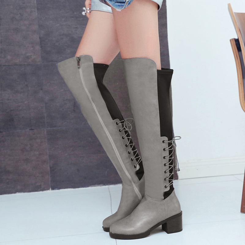 KEBEIORITY Large Size Knee High Boots Women Autumn Shoes High Heels Leather Fashion Square Heel Black Red Boots Woman Shoes цены онлайн