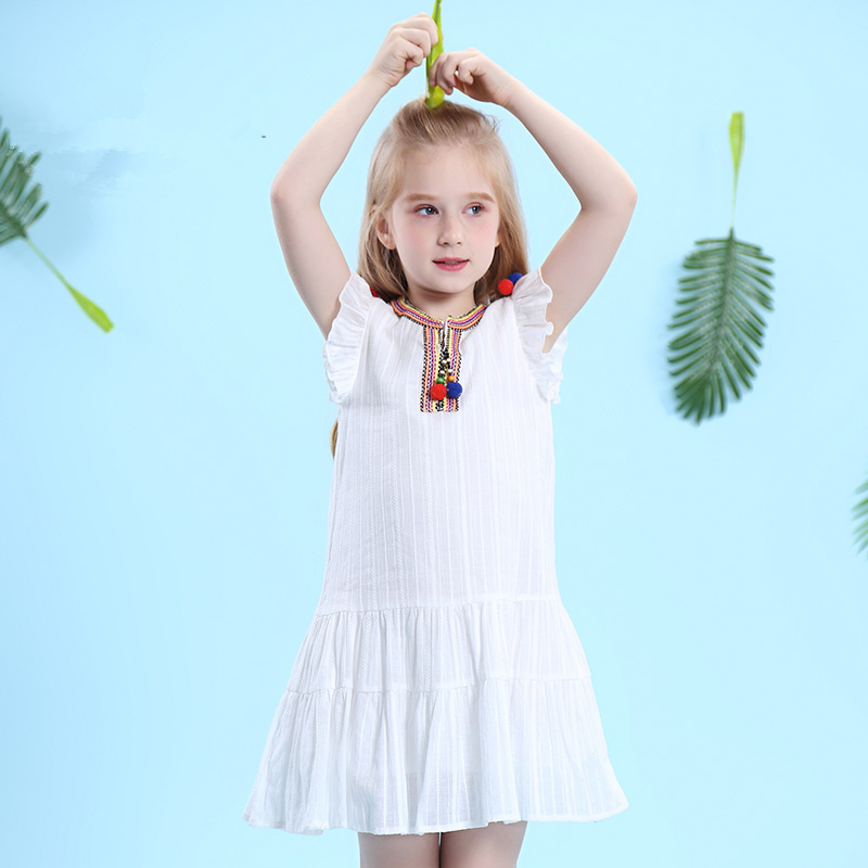 WL.MONSOON Brand children 2018 new summer Girl's vest dress White cotton Sleeveless ethnic dress женское платье dress new brand 2015 thetest summer dress