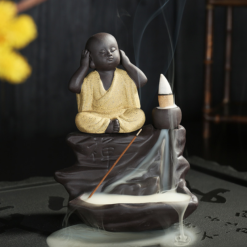 Home Decoration Buddhist Buddha Incense Stick Holder Ceramic Censer The Little Monk Backflow Incense Cones Burner Ceramic Craft