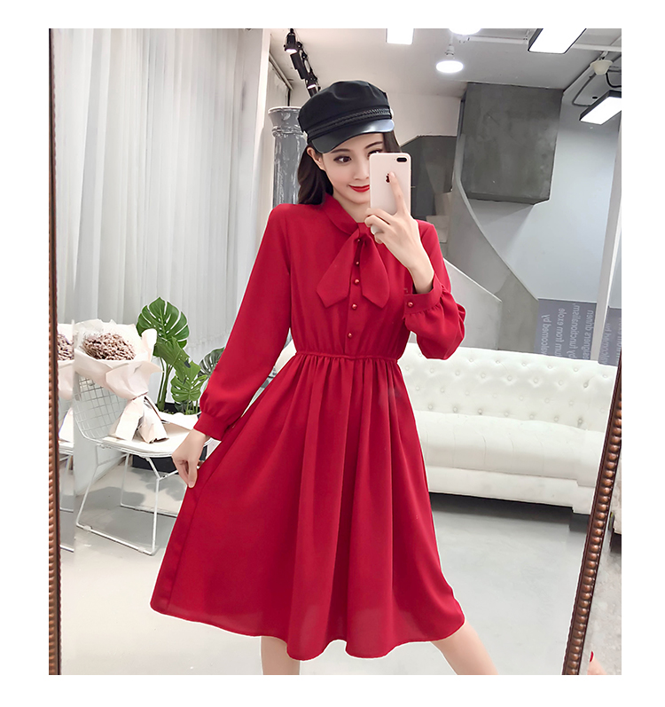 fashion bow collar women dresses party night club dress 2019 new spring long sleeve solid chiffon dress women clothing B101 12