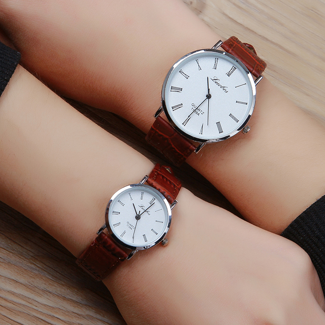 Luobos Roman Style Lovers Leather Quartz Watch Hot Sale Fashion Casual Super-Thi