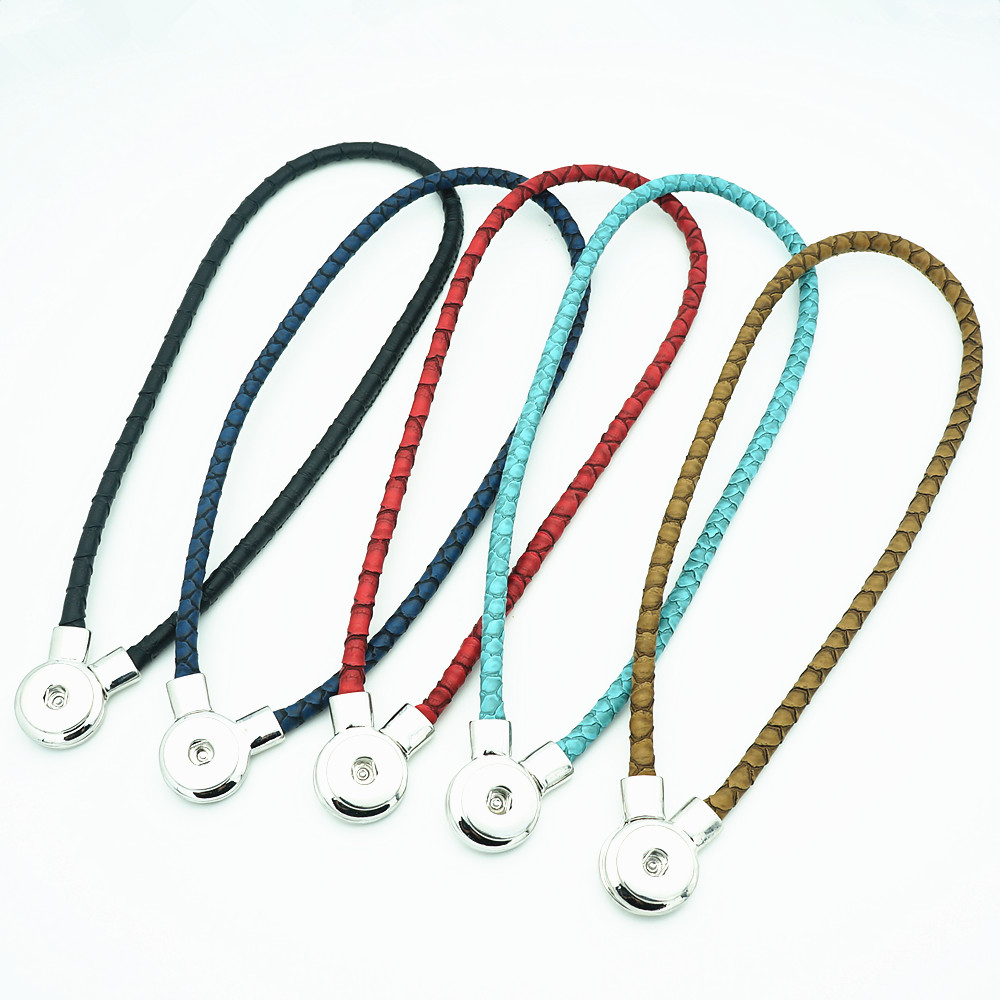 New DJ0079 Beauty Fashion Real Leather snap necklace Torques Collar 50cm colorful Magnet buckle fit DIY 18MM snap buttons