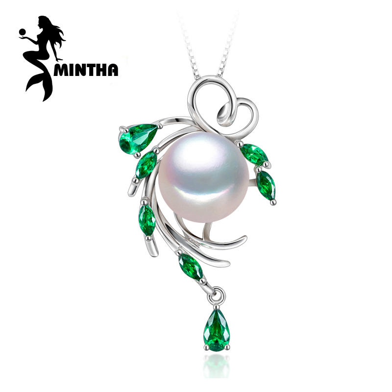 MINTHA 925 sterling silver flower Emerald necklace ,pearl jewelry statement necklace ,Pearl pendant for women,Bohemia necklace