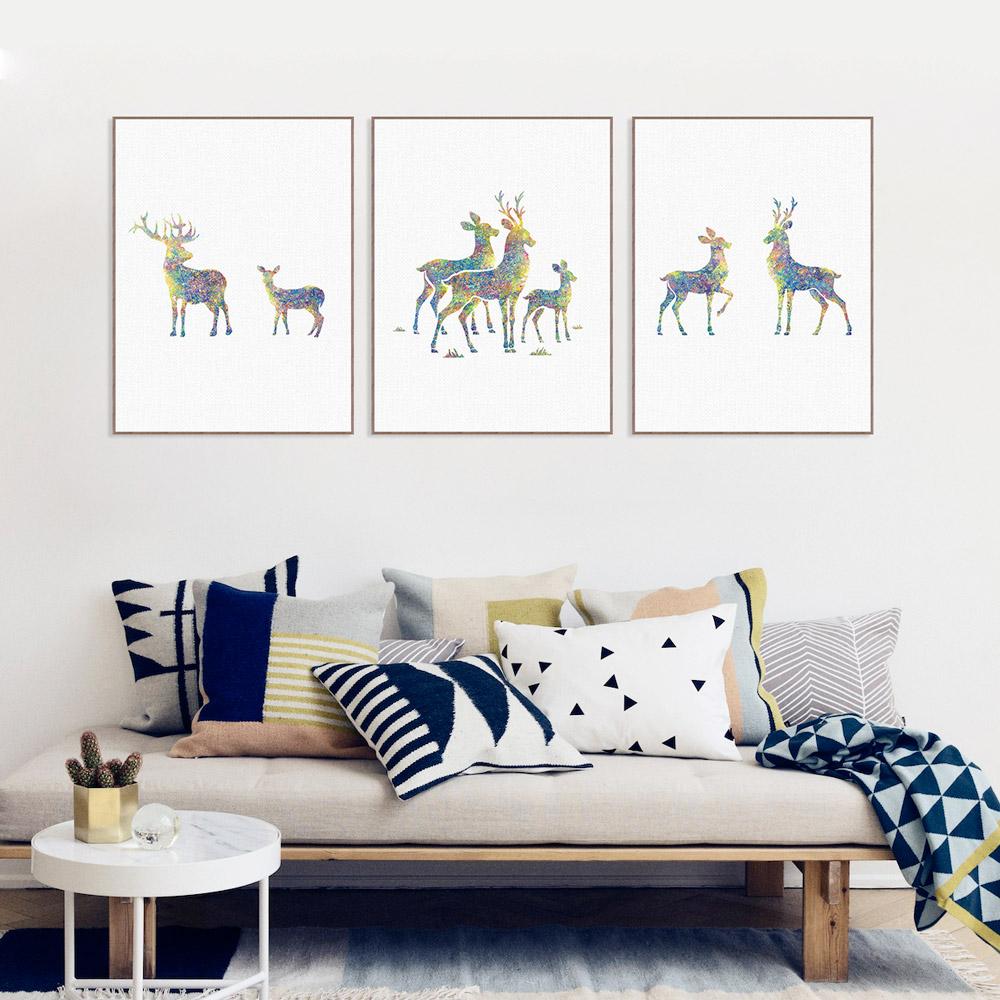 familia de los ciervos de acuarela abstracta moderna lienzo a art print poster pared nrdica decoracin