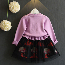 Amuybeen Girls Clothing Sets O-neck Cotton 2017 Toddler Girl Suits Autumn Winter Fashion Long Sleeve+Skirt 2PC Children Clothes
