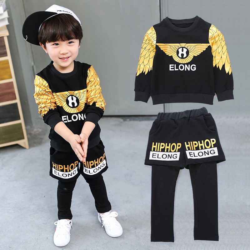 Vigar bear 2018 spring and autumn new children wear fashion Korean version of children and boys two-piece suit boys sports suit