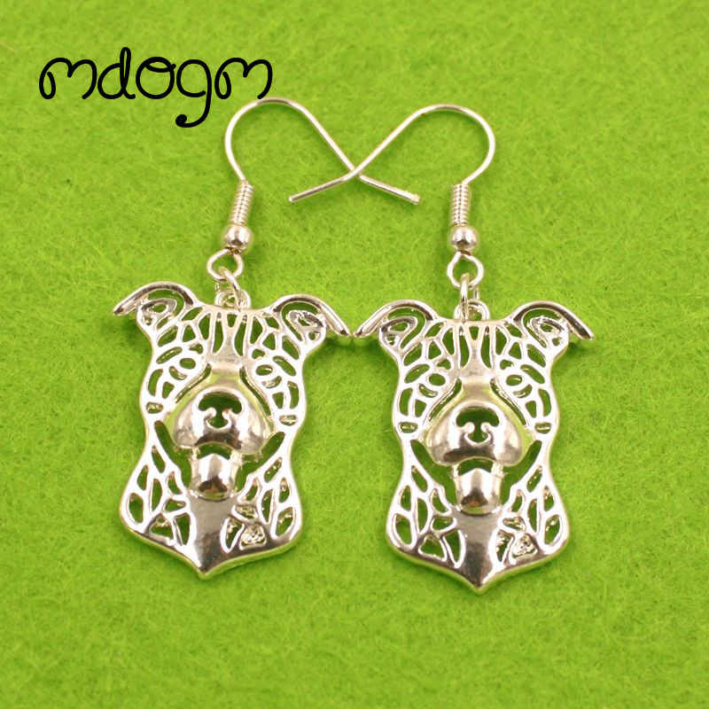 2019 Cute Pit Bull Dog Animal Pendant Drop Earrings Golden Silver Kawaii Funny Summer For Women Girls Woman Ladies E059