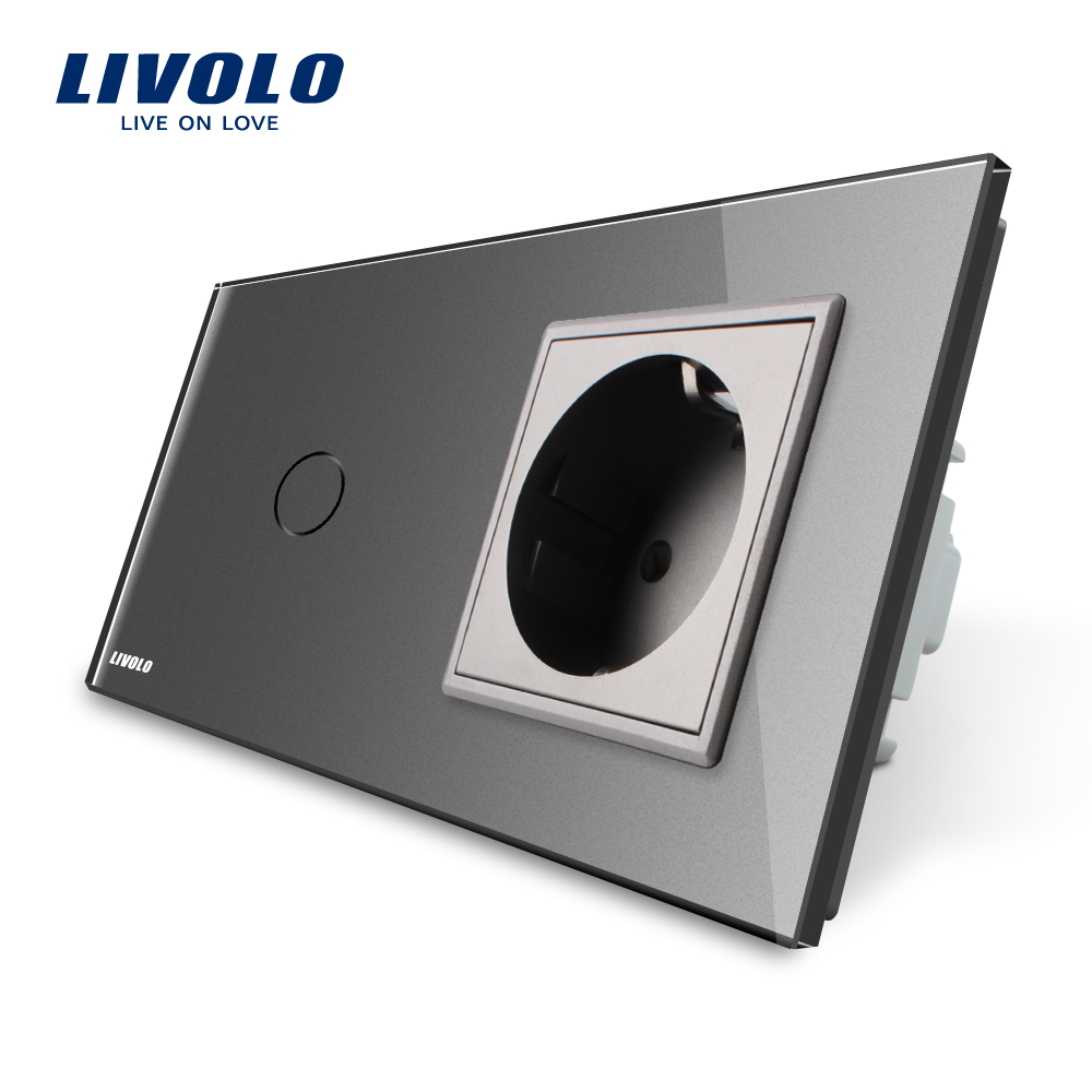 Livolo EU standard Touch Switch, Gray Crystal Glass Panel, 110~250V 16A Wall Socket with Light Switch, VL-C701-15/VL-C7C1EU-15 livolo eu standard touch timer switch ac 220 250v vl c701t 32 black crystal glass panel wall light 30s time delay switch