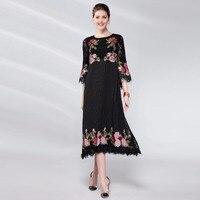 Plus Size Lace Dress Women 2018 Spring New Flowers Cross Stitch O Neck Three Quarter Sleeve Slim A Line Elegant Midi Dresses