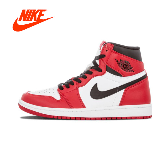 online store 1008f 63a70 Authentic Red White Nike Air Jordan 1 Retro High-top OG Chicago Breathable  Mens Basketball Shoes Men Sports Sneakers