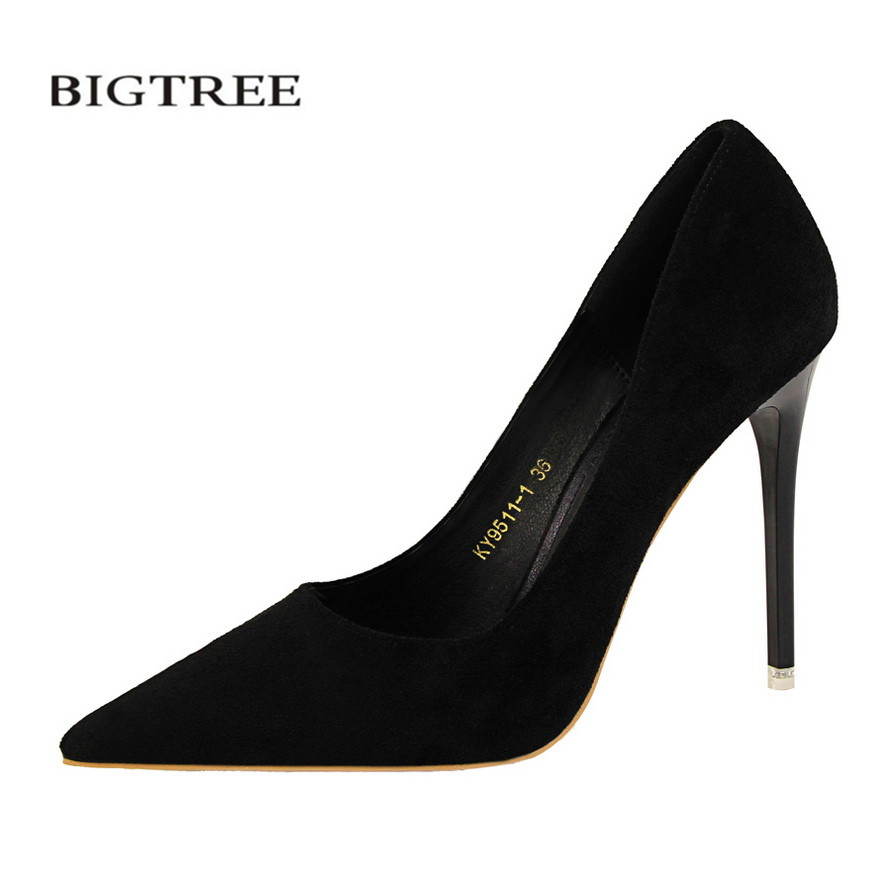 цены BIGTREE New Spring Concise Pumps European Fashion Thin Heels Shoes Shallow Pointed SuedeSexy Women's Single OL Shoes G9511-1