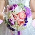 Bouquets De Casamento Para Noivas Românticas Praia do vintage Roxo Buquês de Rosas Artificiais Flores Do Casamento Broche De Noiva Bruidsboeket