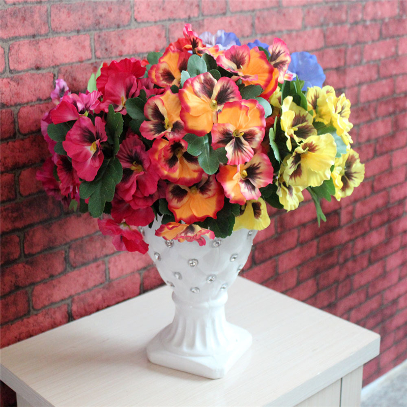 Artificial flower wedding Simulation 5 fork tricolor enamel creative home decoration silk artificial plant AQ204