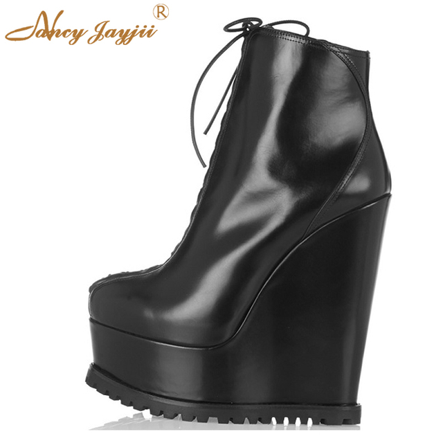 7e15f63206 Black Wedges Ankle Boots Platform Big Size Luxury Ladies Shoes For Women  Super High Heels Dress Party Spring 2019 Fashion Trendy