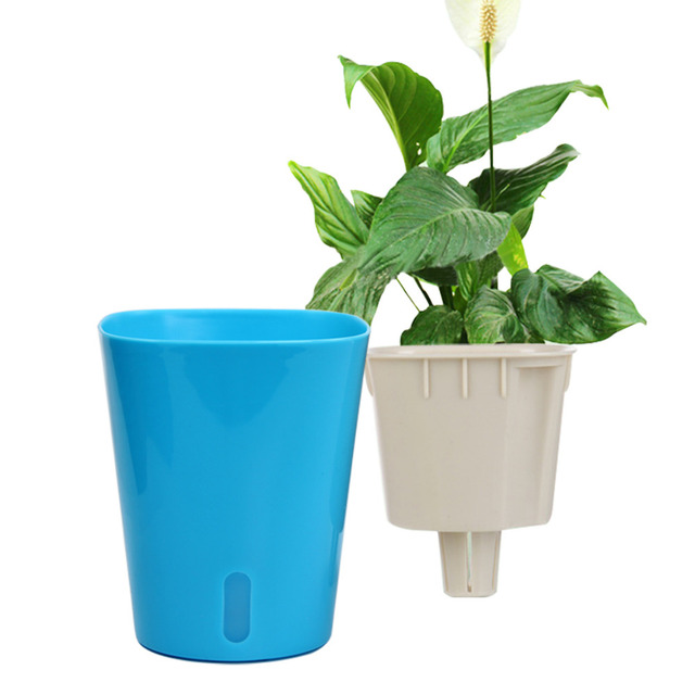 lazy flower pots automatic water absorbing flowers two layer pot