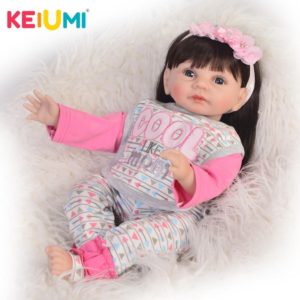 KEIUMI 22'' Silicone Vinyl Reborn Dolls Babies Realistic Smile Princess Twins Fashion Long Hair Stuffed Dolls Boneca Reborn Toys