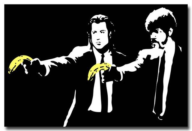 NICOLESHENTING Pulp Fiction Bananas Funny Movie Art Silk Fabric