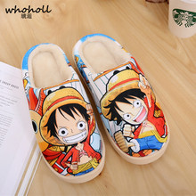 WHOHOLL Cartoon One-Piece Dragon Ball Naruto Pantufa Home Slippers 2019 Winter Man Women Couples Cotton Indoor Lovers