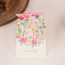 100X WISHMADE Laser Cut Flower Bride and Groom Candy Box Gift Favor Box with Ribbon for Wedding Engagement CB5066S/ CB5066B стоимость