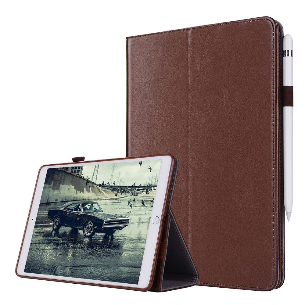 For iPad Pro 12.9 2017 2015 Smart Flip Tablet Case Cover Luxury Genuine Leather Folding Stand Case + Card Slots + Pencil Holder for ipad pro 12 9 2017 2015 smart tablet case cover high quality genuine leather pu folding stand case card slots pencil holder