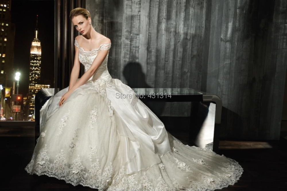 2015 Stock New Style White/Ivory Long Organza Taffeta Beading Ball Gown Bridal Wedding Dresses SZ:6-16 - Boutique dress's store
