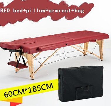 Image 2 - 185cm*60cm bed+cover+bag+U shaped pillow+armrest, spa tattoo beauty furniture portable foldable massage bed salon massage table-in Massage Tables from Furniture