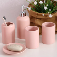 5 Pcs Solid Ceramic Porcelain Bathroom Accessories Set Toothbrush Holder Tumblers Soap Dish Dispenser Eco Friendly Toilet Kit