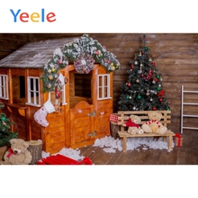 Yeele Christmas Tree Wooden House Gifts Scenic Portrait Photography Backgrounds Seamless Photographic Backdrops For Photo Studio free shipping vinyl backdrops for photography fond de studio de photographie christmas tree photography scenic backdrops sd 067