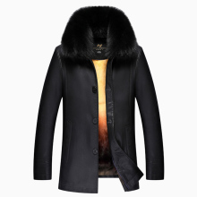 Luxury Men's Clothing Winter Warm Leather Jackets & Coats Fur Inside Big Rabbit Fur Collar jaqueta de couro Biker, Big M-XXXXL