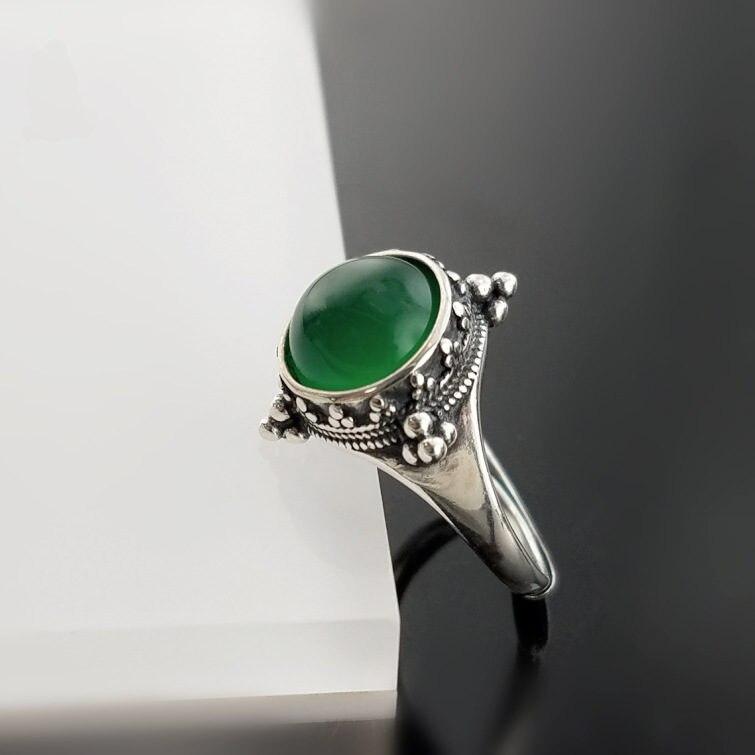 Естественный Зеленый камень оникс тайский серебро 925 Кольца Для женщин Винтаж Элегантный женский 925 стерлингов Серебряные ювелирные издели...