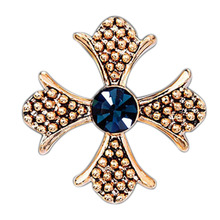 1 Pc New Fashion Clothes Cross Shape Men Brooches Crystal Flower Brooch Pins for Women Jewelry Gold/Silver Plated Collar Pins