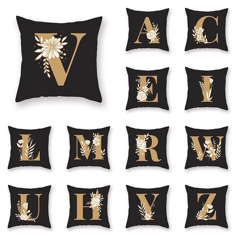 26 Letters Pillowcase Cover For Couch Bedroom Living Room A To X  44*44cm 1Piece