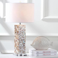 Mediterranean style LED shell Table Lamps decorative Art Deco living room bedroom study shell Table Lights with fabric lampshade
