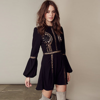 CHIC BELL SLEEVES CROCHET WOMEN HOLIDAY MINI DRESS