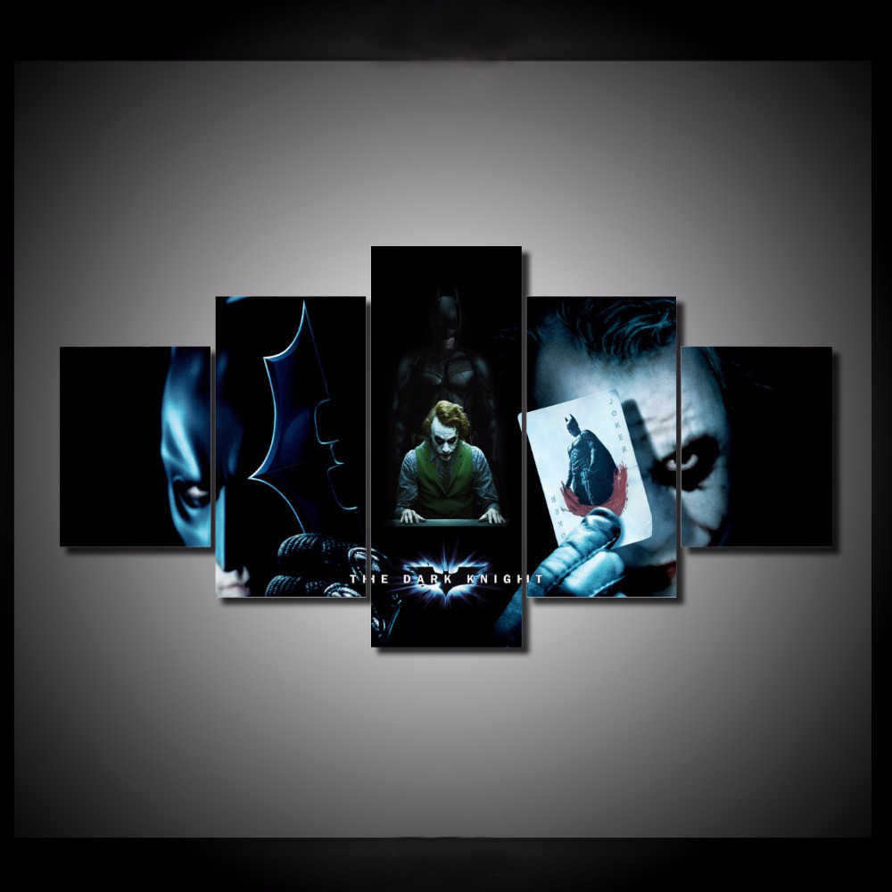 HD Printed 5 Pieces/set Batman VS Joker Pictures Canvas Painting Painting Wall Art Decorative Canvas Wall Art Modular Picture