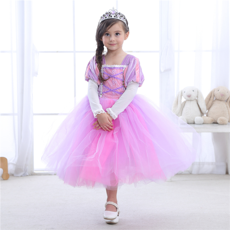ABGMEDR 2018 Tangled Dress Girls Princess Dresses Children Clothing Costume Tangled Rapunzel Dress Kids Holiday Party Clothes princess cinderella girls dress snow white kids clothing dress rapunzel aurora children cosplay costume clothes age 2 10 years