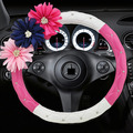 Free shipping car steering wheel covers personalized diamond flower pink PU leather women car covers car Interior Accessories