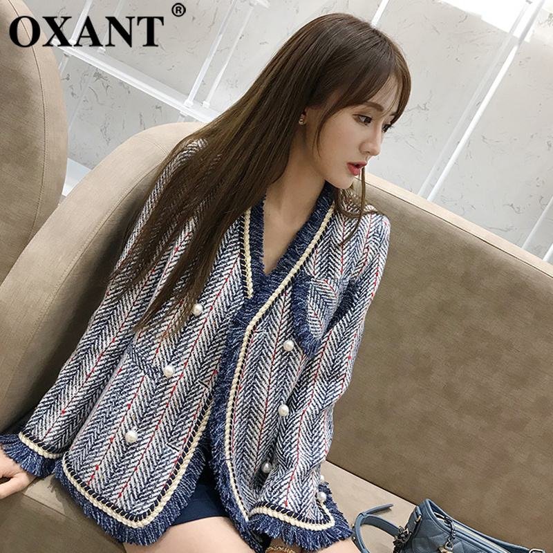 OXANT Patchwork Tassel Waistcoat For Women Blazer Cloats Female Long Sleeve Striped Autumn Coat Fashion Outwear Clothes